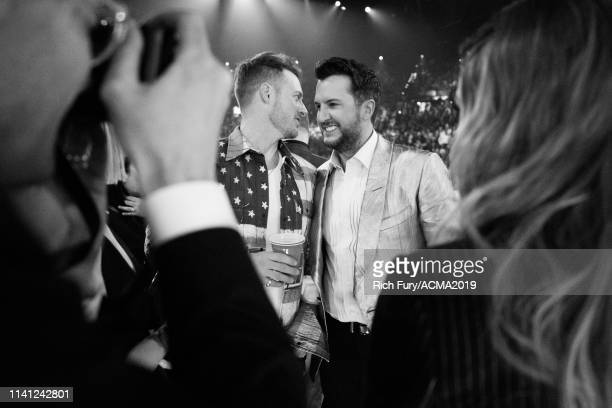 Tyler Hubbard and Luke Bryan attend the 54th Academy Of Country Music Awards at MGM Grand Garden Arena on April 07 2019 in Las Vegas Nevada
