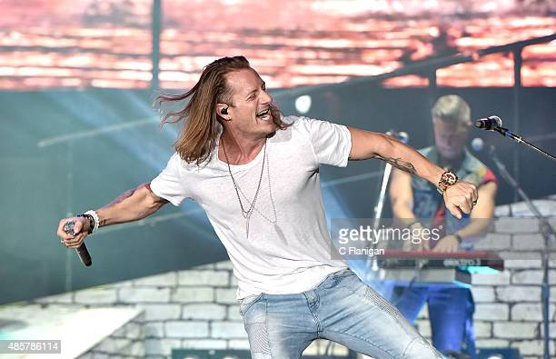 Tyler Hubbard of Florida Georgia Line performs during the 2015 Kick Up The Dust Tour at Levi's Stadium on August 29, 2015 in Santa Clara, California.