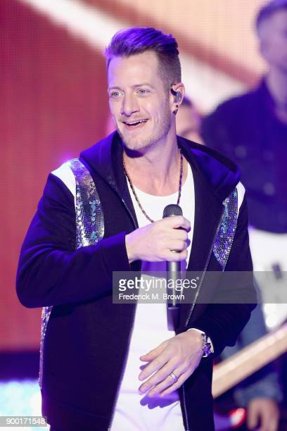 Tyler Hubbard of Florida Georgia Line performs onstage during Dick Clark's New Year's Rockin' Eve with Ryan Seacrest 2018 on December 31 2017 in Los...