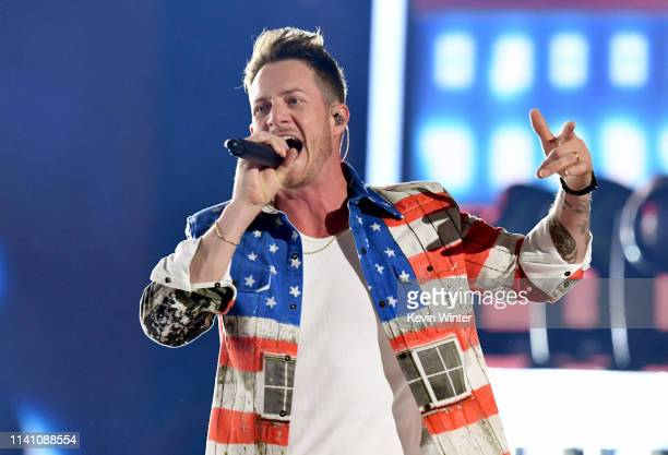 Tyler Hubbard of Florida Georgia Line performs onstage during the 54th Academy Of Country Music Awards at MGM Grand Garden Arena on April 07 2019 in...