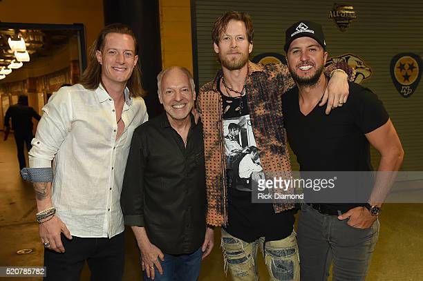 Tyler Hubbard of Florida Georgia Line Peter Frampton Brian Kelley of Florida Georgia Line and Luke Bryan attend All For The Hall at the Bridgestone...