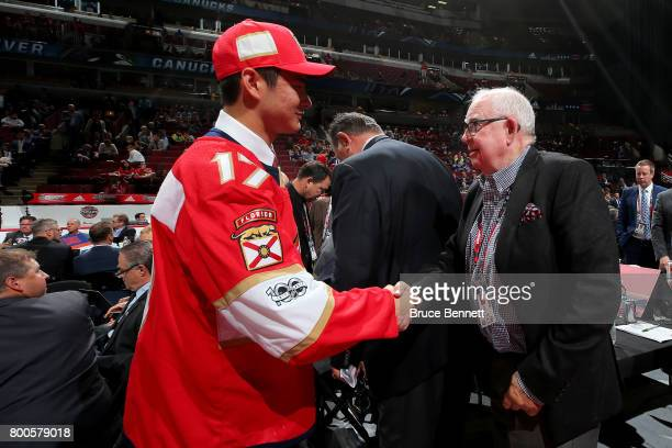 Tyler Inamoto meets with executives after being selected 133rd overall by the Florida Panthers during the 2017 NHL Draft at the United Center on June...