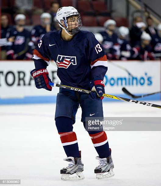 Tyler Inamoto of the US National Under18 Team skates against the Boston University Terriers during NCAA exhibition hockey at Agganis Arena on October...