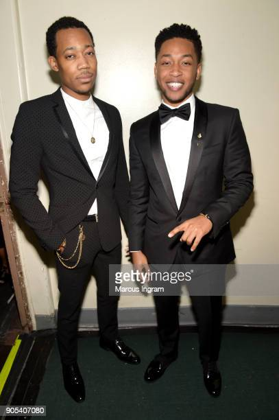 Tyler James Williams and Jacob Latimore attend the 49th NAACP Image Awards at Pasadena Civic Auditorium on January 15 2018 in Pasadena California