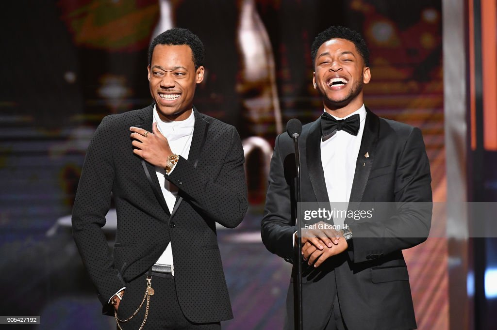 Tyler James Williams (L) and Jacob Latimore onstage at the 49th NAACP Image Awards on January 15, 2018 in Pasadena, California.
