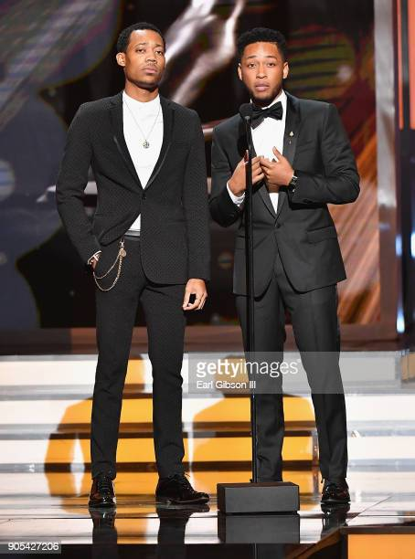 Tyler James Williams and Jacob Latimore onstage at the 49th NAACP Image Awards on January 15 2018 in Pasadena California