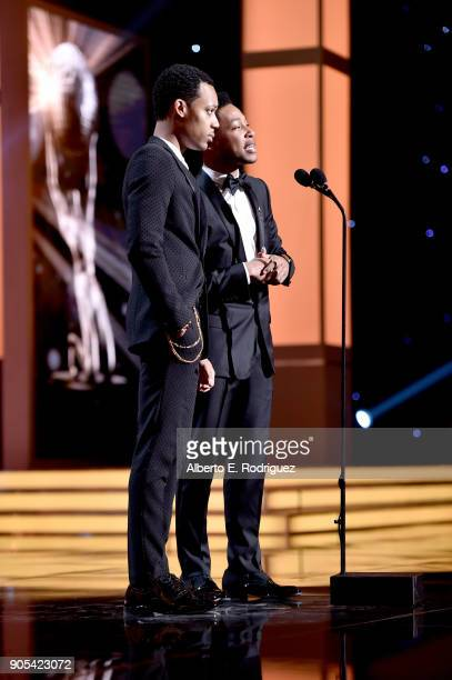 Tyler James Williams and Jacob Latimore speak onstage during the 49th NAACP Image Awards at Pasadena Civic Auditorium on January 15 2018 in Pasadena...
