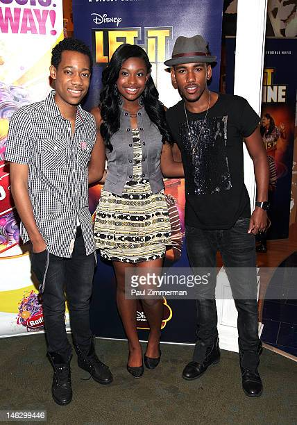 Tyler James Williams Coco Jones and Brandon Mychal Smith attend the Disney Channel's Let It Shine cast autograph signing at the Disney Store on June...