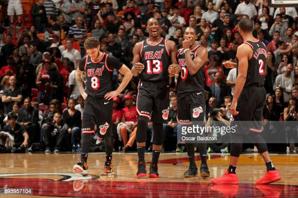 Tyler Johnson Bam Adebayo Josh Richardson and Wayne Ellington of the Miami Heat during the game against the LA Clippers on December 16 2017 at...