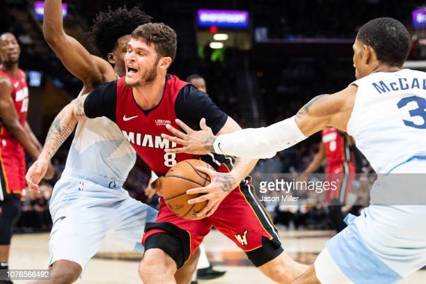 Tyler Johnson of the Miami Heat drives past Collin Sexton of the Cleveland Cavaliers during the first half at Quicken Loans Arena on January 2 2019...