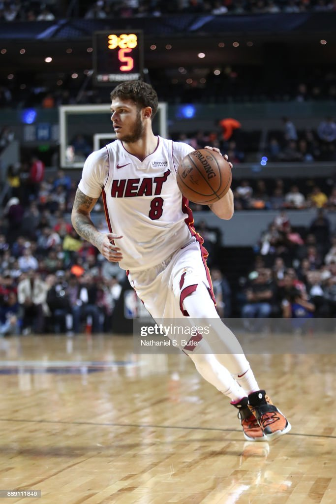 Tyler Johnson #8 of the Miami Heat handles the ball against the Brooklyn Nets as part of the NBA Mexico Games 2017 on December 9, 2017 at the Arena Ciudad de México in Mexico City, Mexico.