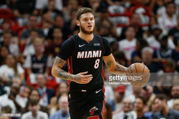 Tyler Johnson of the Miami Heat in action against the Charlotte Hornets at American Airlines Arena on October 20 2018 in Miami Florida NOTE TO USER...