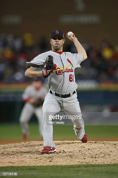 Tyler Johnson of the St. Louis Cardinals pitches during Game Two of the 2006 World Series on October 22, 2006 at Comerica Park in Detroit, Michigan....