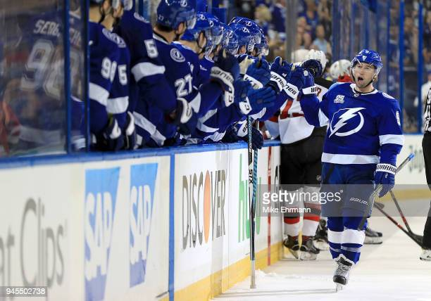 Tyler Johnson of the Tampa Bay Lightning celebrates a goal during Game One of the Eastern Conference First Round against the New Jersey Devils during...