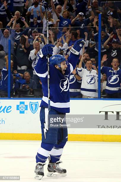 Tyler Johnson of the Tampa Bay Lightning celebrates after scoring a goal in the second period against the New York Rangers during Game Three of the...