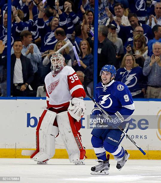 Tyler Johnson of the Tampa Bay Lightning celebrates his goal in front of Jimmy Howard of the Detroit Red Wings during the third period in Game Two of...