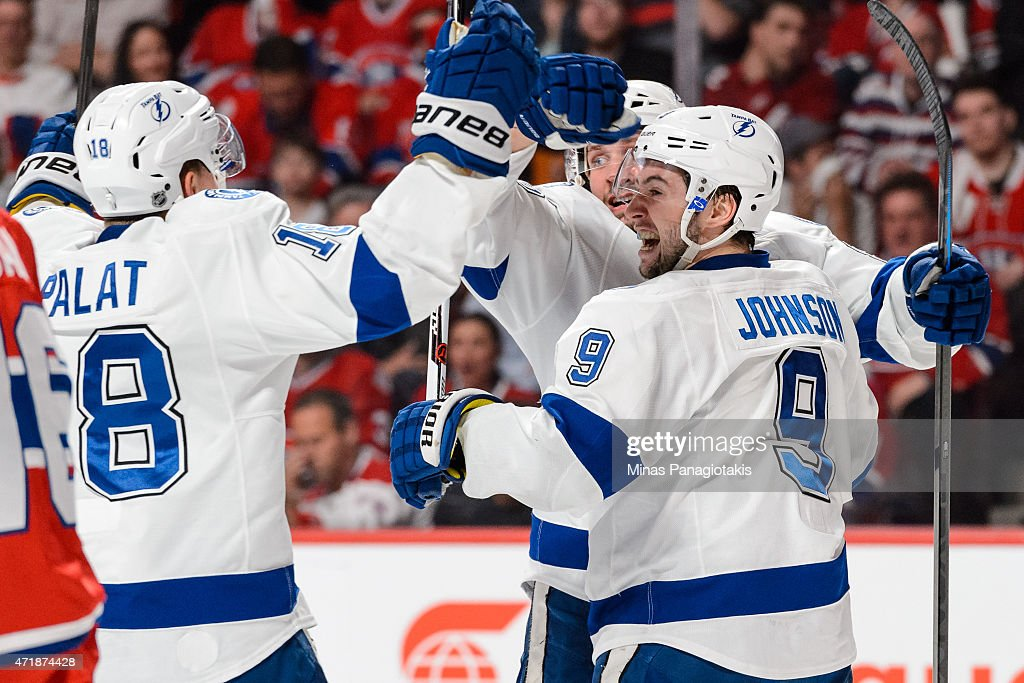 Tyler Johnson #9 of the Tampa Bay Lightning celebrates his goal with teammates in Game One of the Eastern Conference Semifinals against the Montreal Canadiens during the 2015 NHL Stanley Cup Playoffs at the Bell Centre on May 1, 2015 in Montreal, Quebec, Canada.