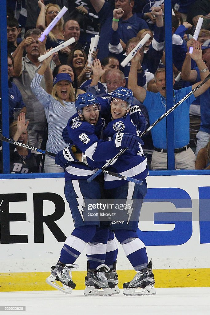 Tyler Johnson #9 of the Tampa Bay Lightning celebrates his goal with Ondrej Palat #18 of the Tampa Bay Lightning during the first period against the New York Islanders in Game Two of the Eastern Conference Second Round during the 2016 NHL Stanley Cup Playoffs at Amalie Arena on April 30, 2016 in Tampa, Florida.