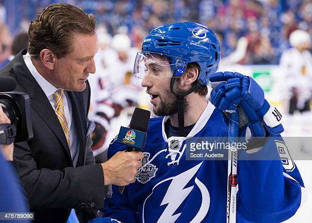 Tyler Johnson of the Tampa Bay Lightning is interviewed by NBC Sports analyst Jeremy Roenick before the game against the Chicago Blackhawks in Game...