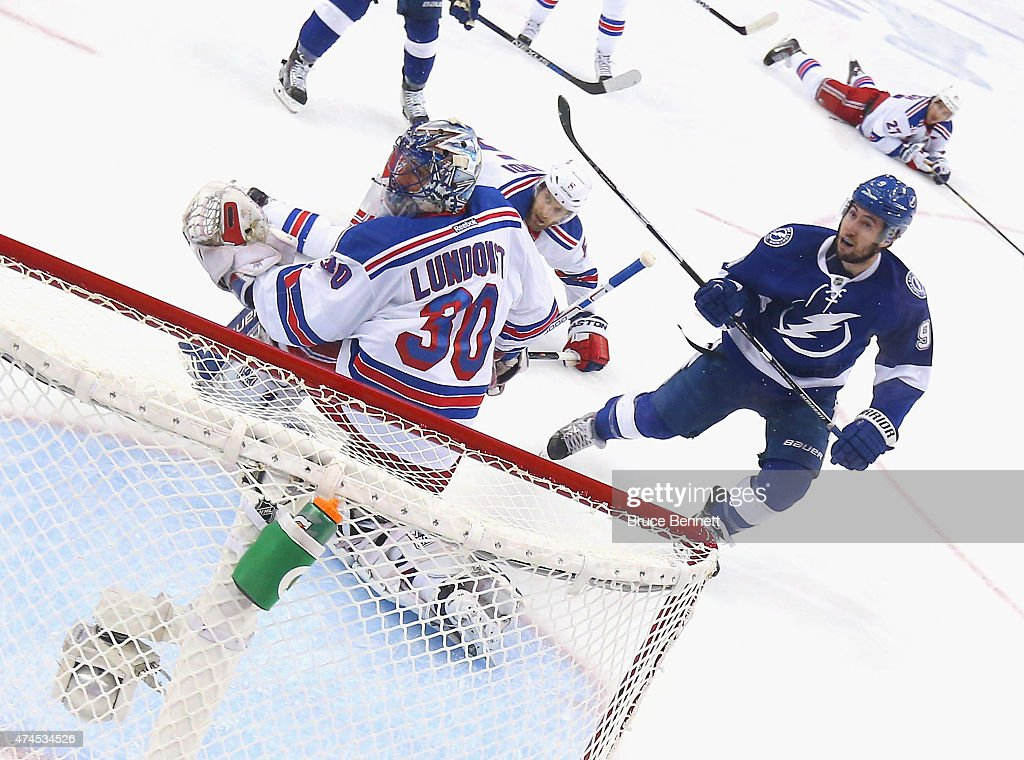 Tyler Johnson #9 of the Tampa Bay Lightning misses a shot against Henrik Lundqvist #30 of the New York Rangers in Game Four of the Eastern Conference Finals during the 2015 NHL Stanley Cup Playoffs at Amalie Arena on May 22, 2015 in Tampa, Florida. The Rangers defeated the Lighjtning 5-1.