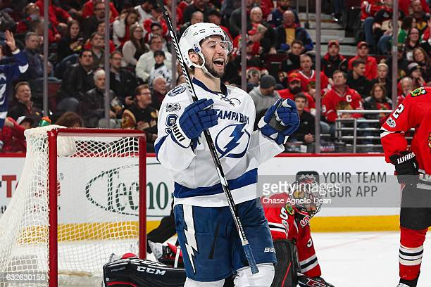 Tyler Johnson of the Tampa Bay Lightning reacts after scoring his second goal against the Chicago Blackhawks in the third period at the United Center...