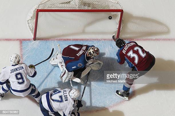 Tyler Johnson of the Tampa Bay Lightning scores a goal against Goaltender Semyon Varlamov of the Colorado Avalanche in the 3rd period at the Pepsi...