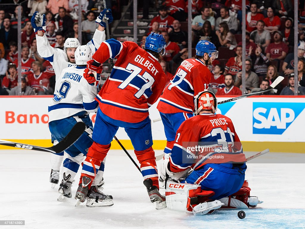 Tyler Johnson #9 of the Tampa Bay Lightning scores on goaltender Carey Price #31 of the Montreal Canadiens in Game One of the Eastern Conference Semifinals during the 2015 NHL Stanley Cup Playoffs at the Bell Centre on May 1, 2015 in Montreal, Quebec, Canada.