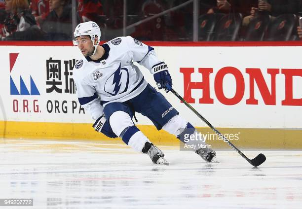 Tyler Johnson of the Tampa Bay Lightning skates against the New Jersey Devils in Game Four of the Eastern Conference First Round during the 2018 NHL...