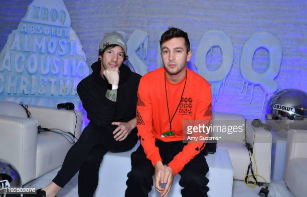 Tyler Joseph and Josh Dun of Twenty One Pilots attend KROQ Absolut Almost Acoustic Christmas 2019 at Honda Center on December 8 2019 in Anaheim...