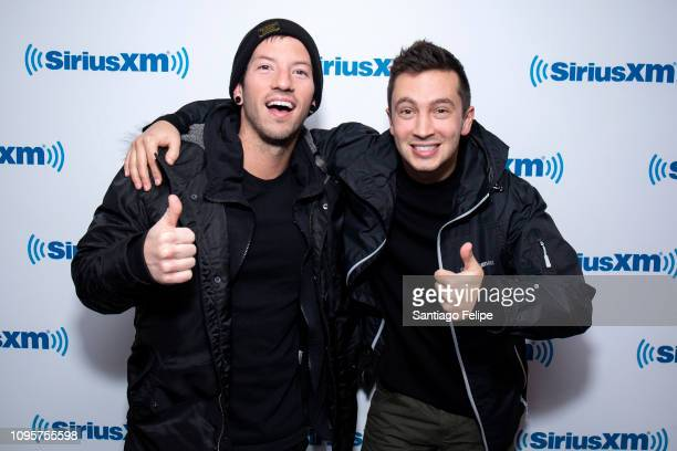 Tyler Joseph and Josh Dun of 'Twenty One Pilots' visits SiriusXM Studios on January 17 2019 in New York City