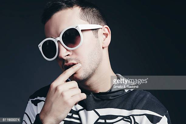 Tyler Joseph of musical duo Twenty One Pilots is photographed for Billboard Magazine on October 15 2015 in Los Angeles California