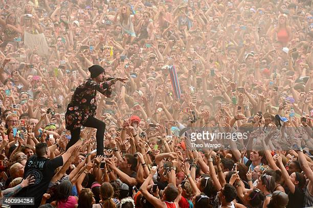 Tyler Joseph of Twenty One Pilots performs during day 3 of the Firefly Music Festival on June 21 2014 in Dover Delaware