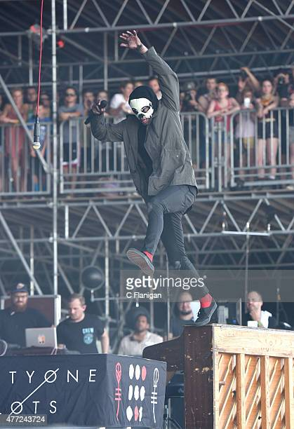 Tyler Joseph of Twenty One Pilots performs during the 2015 Bonnaroo Music Arts Festival on June 14 2015 in Manchester Tennessee
