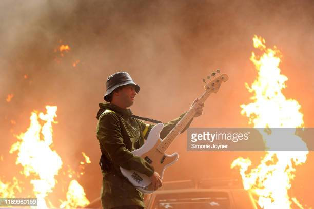 Tyler Joseph of Twenty One Pilots performs live on the Main Stage during day two of Reading Festival 2019 at Richfield Avenue on August 24 2019 in...