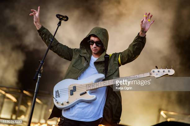 Tyler Joseph of Twenty One Pilots performs on stage during Leeds Festival 2019 at Bramham Park on August 25 2019 in Leeds England