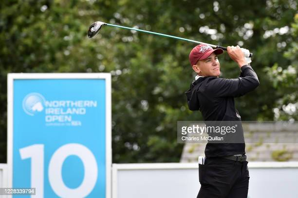 Tyler Koivisto hits his drive off the 10th tee during day two of the Northern Ireland Open at Galgorm Spa & Golf Resort on September 4, 2020 in...