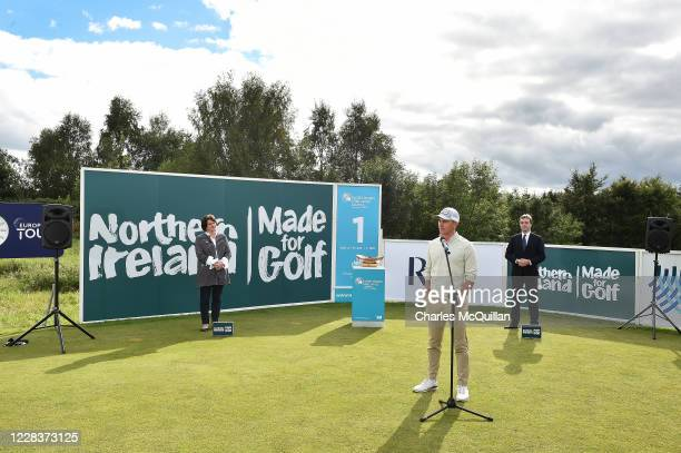 Tyler Koivisto of the United States gives a speech after winning the Northern Ireland Open supported by The R&A at Galgorm Spa & Golf Resort on...