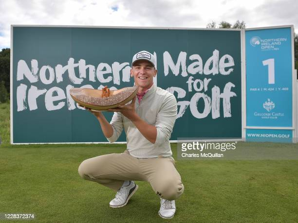 Tyler Koivisto of the United States pictured with the trophy after winning the Northern Ireland Open supported The R&A at Galgorm Spa & Golf Resort...
