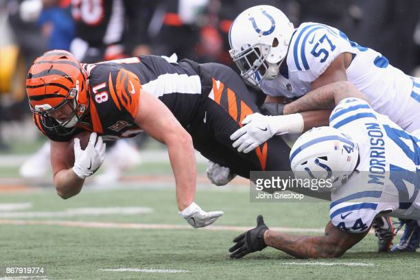 Tyler Kroft of the Cincinnati Bengals runs the football upfield against Antonio Morrison and Jon Bostic of the Indianapolis Colts during their game...