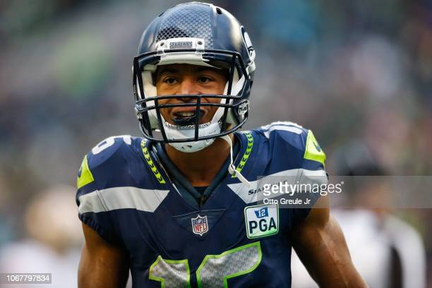 Tyler Lockett of the Seattle Seahawks after a long kickoff return in the third quarter against the San Francisco 49ers at CenturyLink Field on...