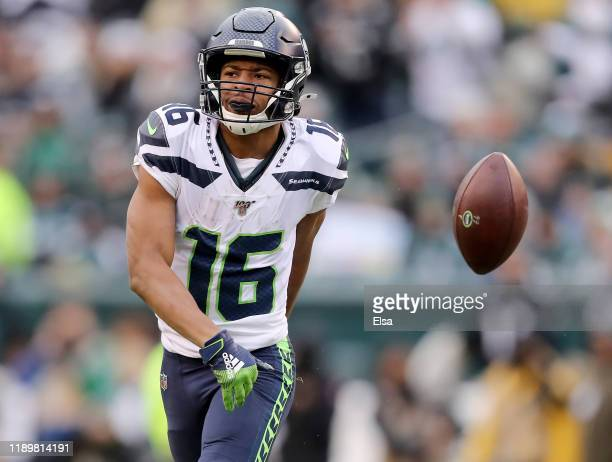 Tyler Lockett of the Seattle Seahawks celebrates the first down against the Philadelphia Eagles at Lincoln Financial Field on November 24 2019 in...