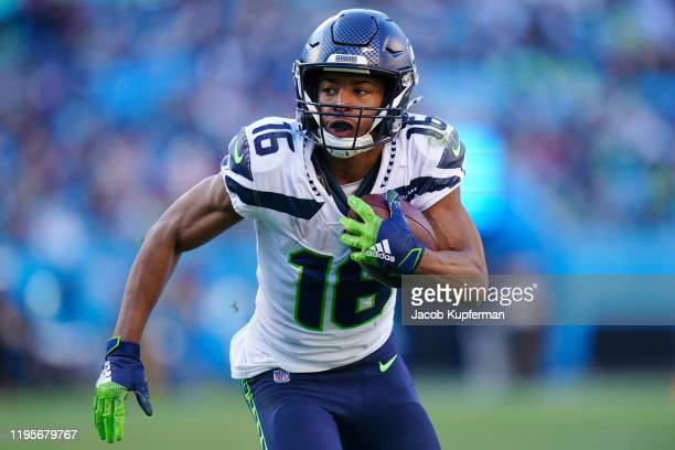 Tyler Lockett of the Seattle Seahawks during the second half during their game against the Carolina Panthers at Bank of America Stadium on December...
