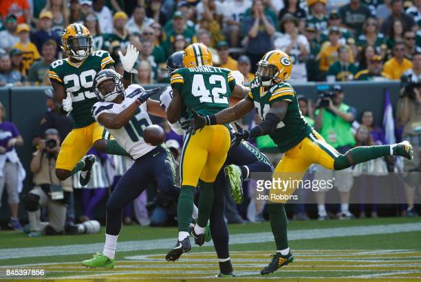 Tyler Lockett of the Seattle Seahawks is unable to make a reception in the end zone during the second quarter against the Green Bay Packers at...