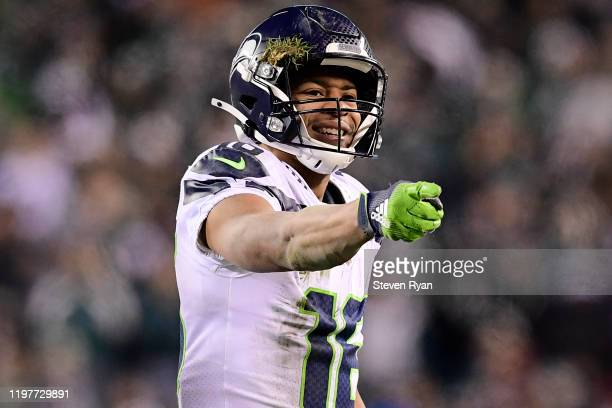 Tyler Lockett of the Seattle Seahawks reacts to a play during the NFC Wild Card Playoff game against the Philadelphia Eagles at Lincoln Financial...