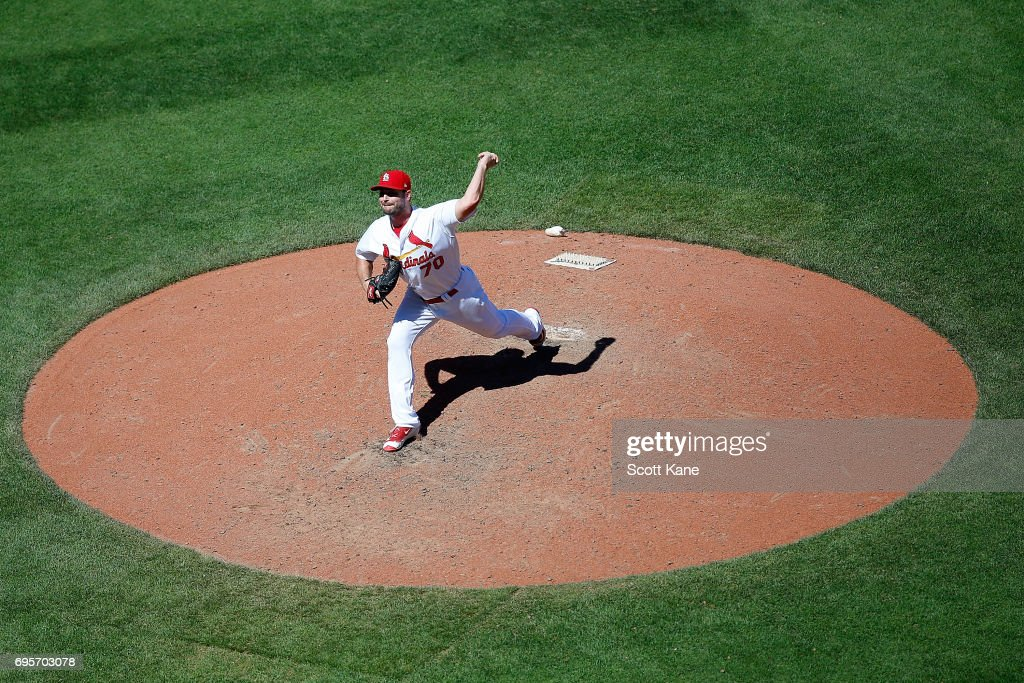 Tyler Lyons #70 of the St. Louis Cardinals pitches during the seventh inning against the Milwaukee Brewers at Busch Stadium on June 13, 2017 in St. Louis, Missouri.