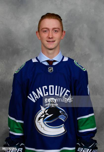 Tyler Madden poses for a portrait after being selected 68th overall by the Vancouver Canucks during the 2018 NHL Draft at American Airlines Center on...