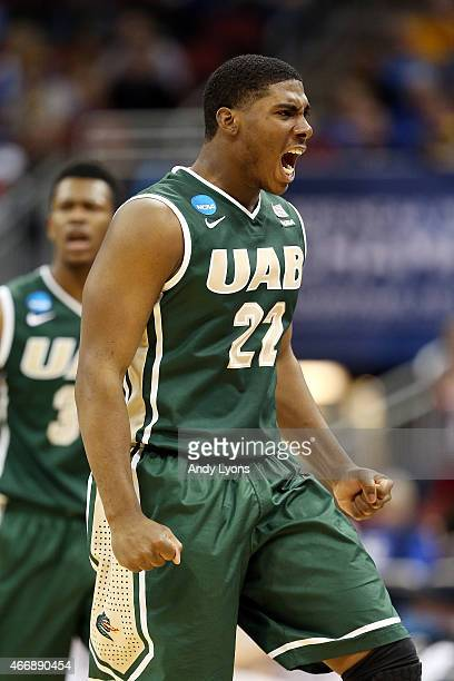 Tyler Madison of the UAB Blazers reacts against the Iowa State Cyclones during the second round of the 2015 NCAA Men's Basketball Tournamenat at the...