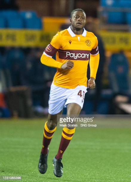Tyler Magloire makes his debut for Motherwell during a Scottish Premiership match between Kilmarnock and Motherwell at Rugby Park on February 10 in...