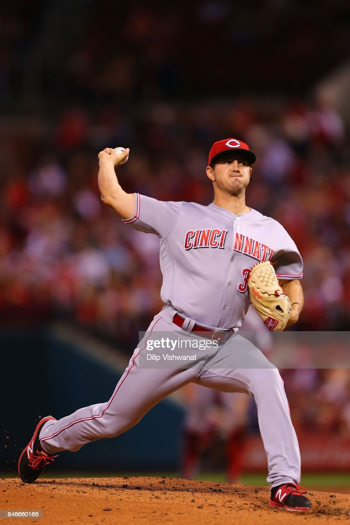 Tyler Mahle #30 of the Cincinnati Reds pitches against the St. Louis Cardinals in the second inning at Busch Stadium on September 13, 2017 in St. Louis, Missouri.
