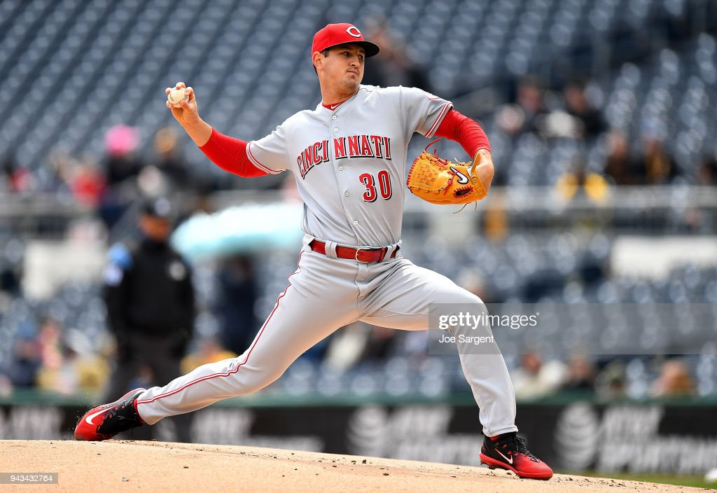 Tyler Mahle #30 of the Cincinnati Reds pitches during the first inning against the Pittsburgh Pirates at PNC Park on April 8, 2018 in Pittsburgh, Pennsylvania.